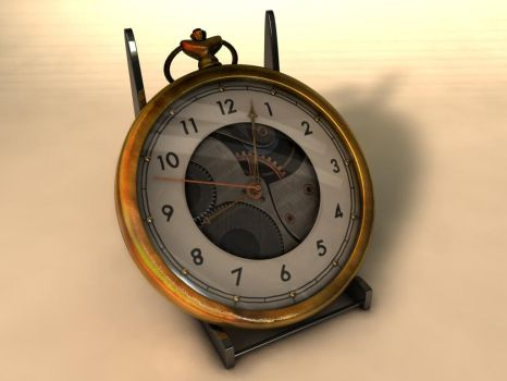 Gold pocket watch by 3Dapple