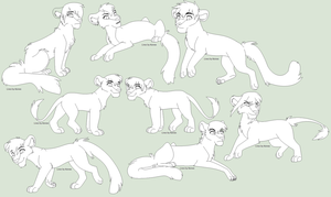 Lots Of Felines FREE Line Art by Kainaa