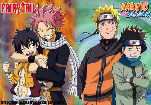 Natsu and Romeo VS Naruto and Konohamaru by DennisStelly