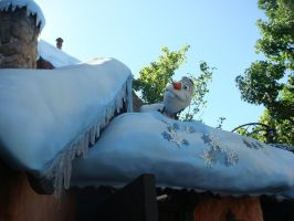 There's Olaf the Snowman on Frozen's Snow Hut roof by Magic-Kristina-KW