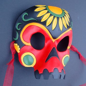 Sunflower Skull Leather Mask by merimask
