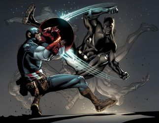 Captain AMerica.Black Panther. by MarteGracia