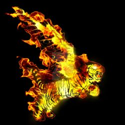 Winged Tiger Fire - Tigre alado de fuego by Elpsyon-Creative