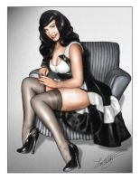 Bettie Page Pinup by HiTechArtist