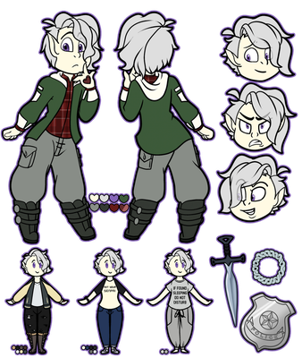 Ren CyGreen | Chibi Deluxe Reference Sheet by TwistedDisaster