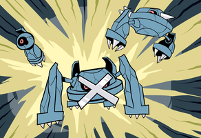 Beldum, Metang, Metagross by RoastedStix