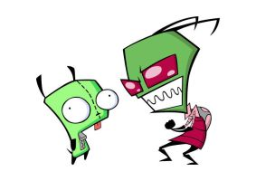 Zim and GIR From Invader Zim Series Free Vector by superawesomevectors
