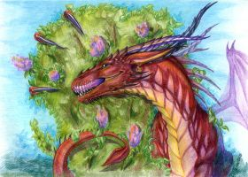 Dragon and lilac by Esa82