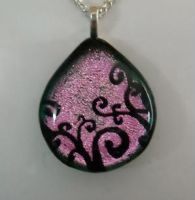 Pink Swirls Dichroic Pendant by HoneyCatJewelry