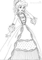 Ariel deluxe gown lineart by LadyAmber
