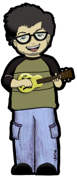 caricature of my friend Jude with a ukulele by ojneb12