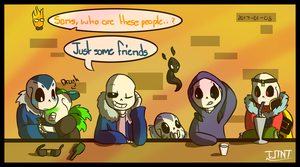 A group of Sans' approaches by TealTNT