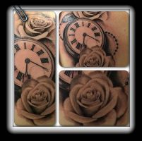 Watch and roses by state-of-art-tattoo
