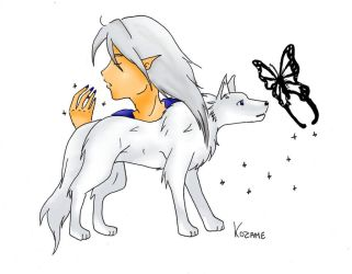 Vanloo elf and wolf by Dramia