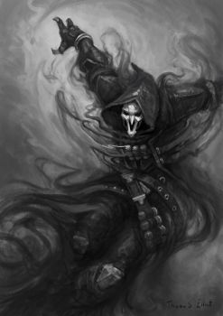 Reaper, Black and White Overwatch Fanart by Art--Tool
