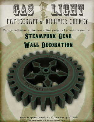 Steampunk Wall Gear Paper Model by SiriusArtWorks