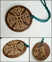 CELTIC CROSS two sided key chain with monogram by YANKA-arts-n-crafts
