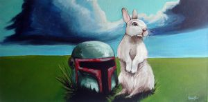 Bunny with Boba Fett helmet by TrampLamps
