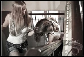 Catfighting on the stair by Edward-Photography