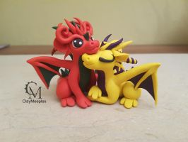 dragon couple polymer clay by claymeeples
