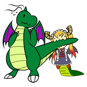 Dragonite and Tohru by GloomySpiderParty