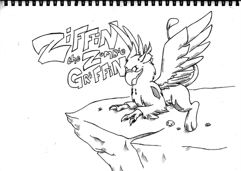 Ziffin the Zombie Griffin - Inks by cuba12