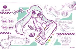 Splatoon, normal style sketches by Pokkiu