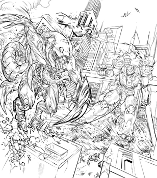 Kaiju vs Mech by komalley