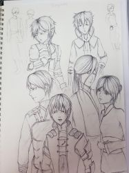 Sketch - main protags of a series by Escoatic