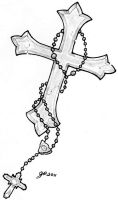 Cross and Rosery Tattoo Image by ElTattooArtist
