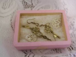 Bronze keys and silver heart and rose earrings by wolf-girl87