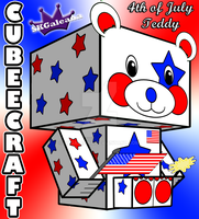 4th of July Teddy Bear Stars and Stripes by SKGaleana