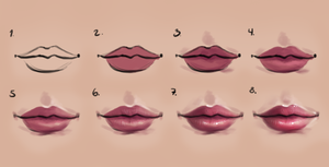 Semi-realism lips - step by step by SandraWinther
