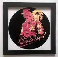 Hotline Miami painted on vinyl record by vantidus