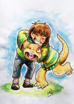 Chara and MonsterKid [AU Aleatale] by Gwend-Noriko-B