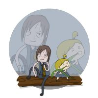 Daryl and Little Ass Kicker eating by HuzRedy