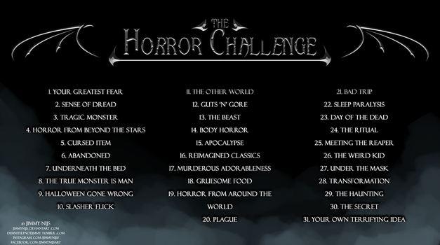 The 31 day October Horror/Halloween Challenge! by JimmyNijs