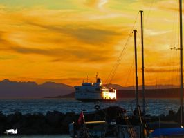 Ferry Boat Sunset by wolfwings1