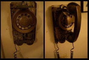 Steampunk Telephone by BlameTheEconomy
