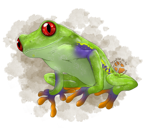 Portrait Commision - Green Tree Frog by ArtbyWhatTheFox