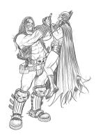 Lobo Choking Batman by angryrooster