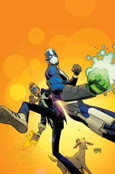 Quantum And Woody Cover Blue Glasses And Green by Andrew-Robinson