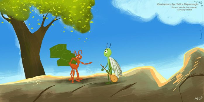 Ant and the Grasshopper An Aesop Fable by eydii