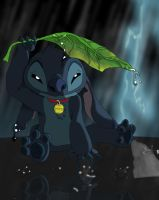 Stitch in the rain 80 percent complete by CavemanBoo