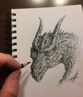 Dragon sketch by chrisscalf