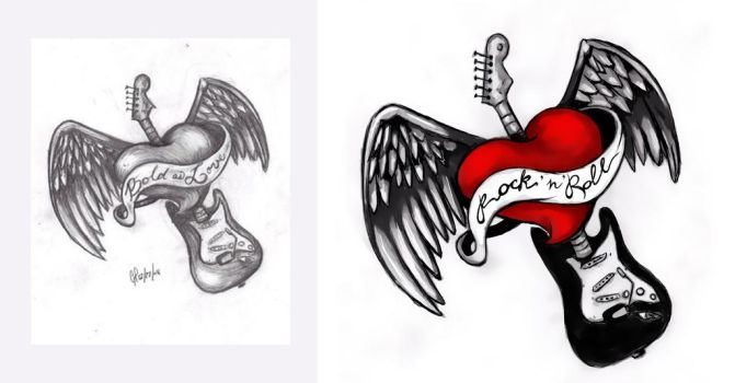 Tatoo sketch - Love guitar by ichuly