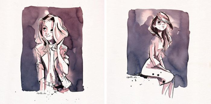 ink watercolor sketches by Iraville