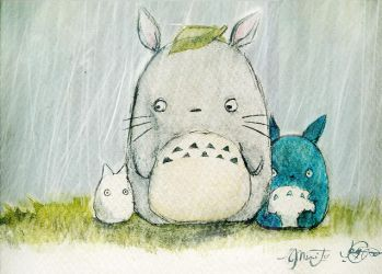 totoro :: watercolor collab by icy-rain