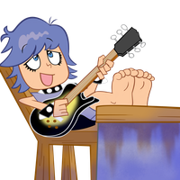 Yumi playing her gibson guitar by waffengrunt