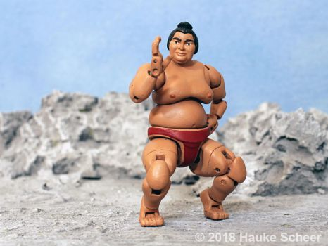 3D printed Sumo action figure pose J by hauke3000